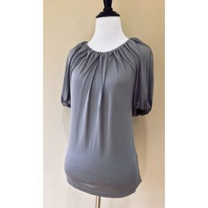 BR 100% Silk Grey Ruched Collar Short Sleeve Top
